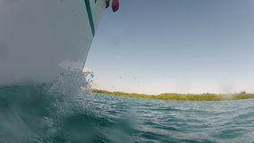 Boat sailing in the sea stock footage