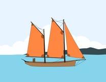 Boat sailing on sea water Stock Image