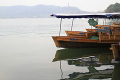 Boat sailing on West Lake in China. Scenic view of a boat sailing on West Lake in Hangzhou, China Stock Photography