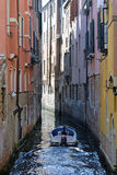 The boat sails on the channel in Venice Royalty Free Stock Photo
