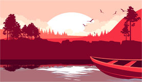 A boat sails on the river. Vector illustration fictional landscape, wild forest and mountains, on the river boat boat of the dawn Stock Photography