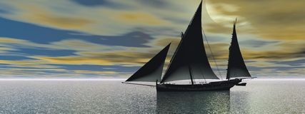 A boat with sails Royalty Free Stock Images