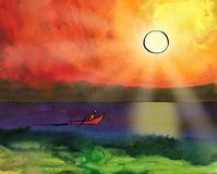 The boat sails on the sea under the sun. Fantasy sunset. Sailor paddles with a paddle.Indian Ink drawing with a pen on paper filled with watercolor background Stock Image