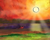 The boat sails on the sea under the sun. Fantasy sunset. Sailor paddles with a paddle.Indian Ink drawing with a pen on paper filled with watercolor background Stock Images
