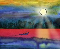 The boat sails on the sea under the sun. Sailor paddles with a paddle.Indian Ink drawing with a pen on paper filled with watercolor background Royalty Free Stock Image