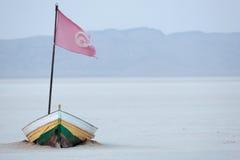 Boat on the salt lake. Chott el jerid,Salt lake in desert, Tunisia stock image