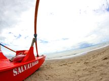 Boat salvage of life guards in the sea coast Stock Photography