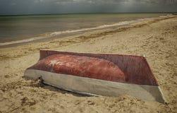 Boat on sandy beach, Progreso, Yucatan, Mexico Royalty Free Stock Images