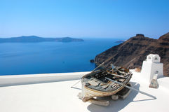 Boat in Santorini. Photo taken in Santorini, Greece Royalty Free Stock Photo
