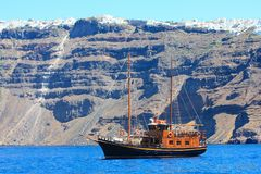 Boat at santorini island Stock Images