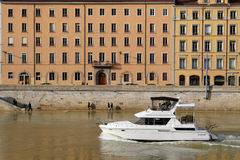 Boat on Saone river Stock Photos