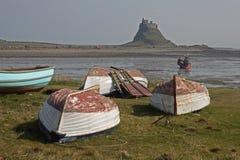 Boat scene, holy island, Northumberland Stock Images