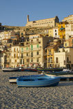 Boat on Scilla. Great sea landscape of Scilla stock photos