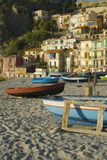Boat on Scilla, great landscape on sunset Royalty Free Stock Image