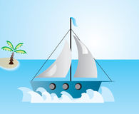 Boat at the sea. Vector illustration of boat at the sea at windy day with island and the palm tree on the horizon Vector Illustration