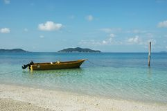 Boat and sea. Boat at sea side with clear water and blue sky Stock Photos