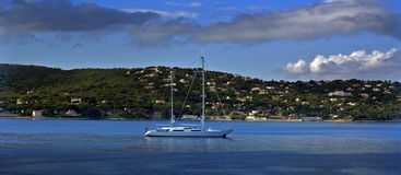 Boat on the sea. Big boat on blue sea water royalty free stock images