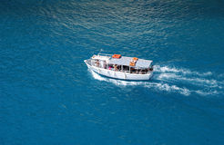 Boat in sea. Aerial photo of a boat in Ionian seas in Greece Stock Images