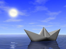 Boat in the sea. Origami boat in the sea. 3d render stock illustration
