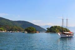 Boat sea Abraao Beach island Ilha Grande, Rio de Janeiro, Brazil Stock Photography