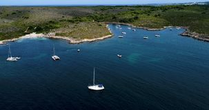 Boat at sea in aerial view. In mediterranean Stock Photos