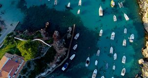 Boat at sea in aerial view. In mediterranean Stock Photography