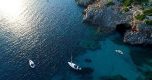 Boat at sea in aerial view. In mediterranean Royalty Free Stock Photo