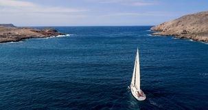 Boat at sea in aerial view. In mediterranean Stock Images