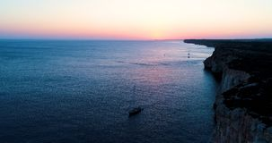 Boat at sea in aerial view. In mediterranean Royalty Free Stock Photos