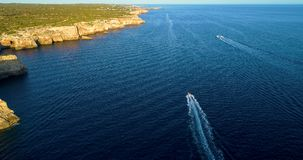 Boat at sea in aerial view. In mediterranean Royalty Free Stock Image