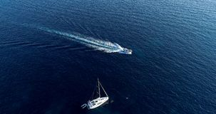 Boat at sea in aerial view Stock Photography