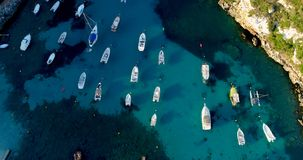 Boat at sea in aerial view. In mediterranean Royalty Free Stock Images