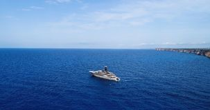 Boat at sea in aerial view. In mediterranean Royalty Free Stock Photography