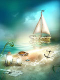 Boat on sea background Royalty Free Stock Photos