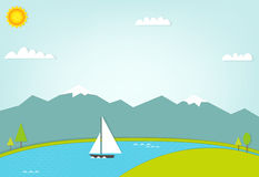 Boat at sea on background of mountains Royalty Free Stock Image
