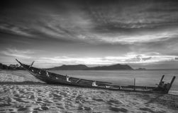 Boat and sea in black and white Royalty Free Stock Photography