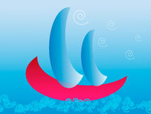 Boat in the sea. Boat with blue sails in the sea Royalty Free Stock Photos