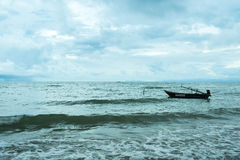 Boat on the sea with blue sky Stock Image