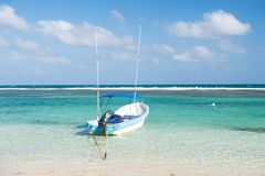 Boat in sea on blue sky background in Costa Maya, Mexico. Summer vacation and holidays. Travel and adventure. Water amusement concept royalty free stock image