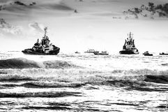 Boat and sea BW. Livorno Waves Italy Royalty Free Stock Image