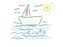 Boat on the sea children artistic drawing Royalty Free Stock Images