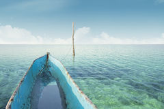 Boat on the sea with clear water Stock Photography