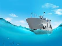Boat on the sea. 3d illustration Stock Photo