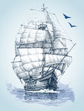 Boat on sea drawing. Sailboat  sketch Royalty Free Stock Image