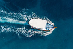 Boat on sea. Duiring summer at Adriatic sea. August 2015 Royalty Free Stock Image