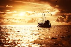 Boat in sea Royalty Free Stock Photography