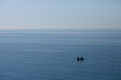Boat in the sea. The boat with fishermen with we blame the sea Royalty Free Stock Photography
