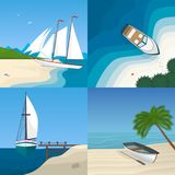 Boat by the sea flat vector illustration. Set of scenes with ships at beach shore. Paradise Island. Summer vacation holidays concept. Ship and palm tree on the Vector Illustration