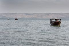 Boat in the Sea of Galilee Royalty Free Stock Image