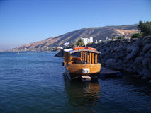 Boat on The Sea of Galilee, Kinneret, Lake of Gennesaret, or Lake Tiberias Royalty Free Stock Photography